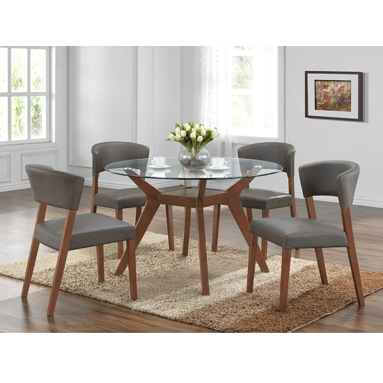 Snowden Glass Dining Table Round In Walnut With 4 Dining Chairs
