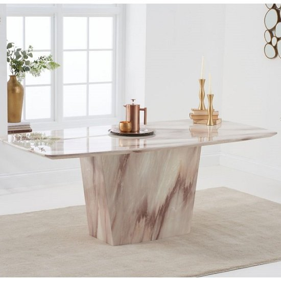 Snyder Marble Dining Table In Brown With Eight Tulip Chairs_2
