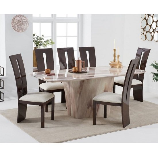 Snyder Marble Dining Table In Brown With Eight Ophelia Chairs