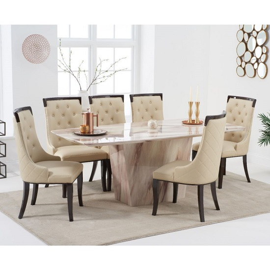 Snyder Marble Dining Table In Brown With Eight Tulip Chairs