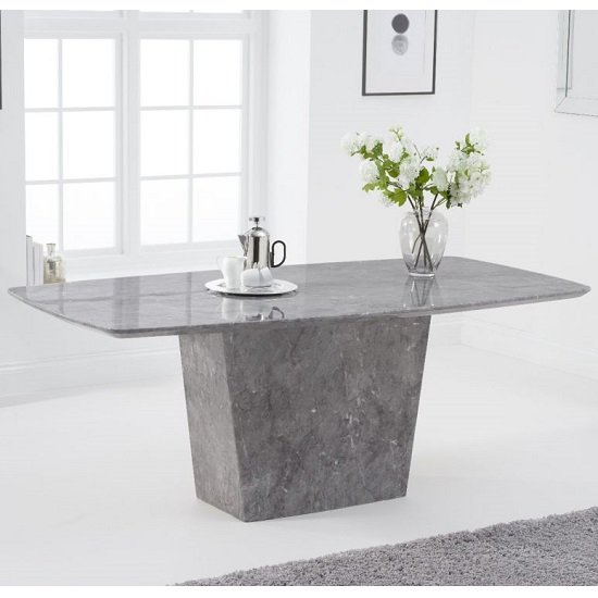 Snyder Marble Dining Table In Light Grey Finish