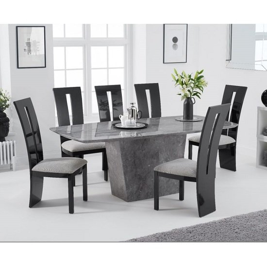 Product photograph showing Snyder Marble Dining Table In Grey With Six Ophelia Chairs