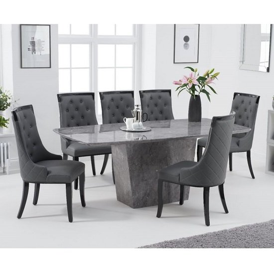 Snyder Marble Dining Table In Grey With Eight Tulip Chairs_1