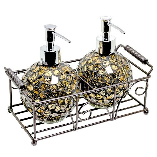 Ravello Pair Of Mosiac Glass Soap Dispenser In Gold With Basket_1