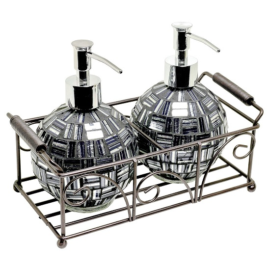Ravello Mosiac Glass Soap Dispensers In Silver Black With Basket