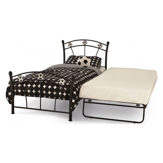 Soccer Metal Single Bed With Guest Bed In Black_2