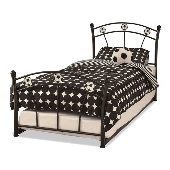 Soccer Metal Single Bed With Guest Bed In Black_1