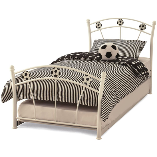 Soccer Metal Single Bed With Guest Bed In White