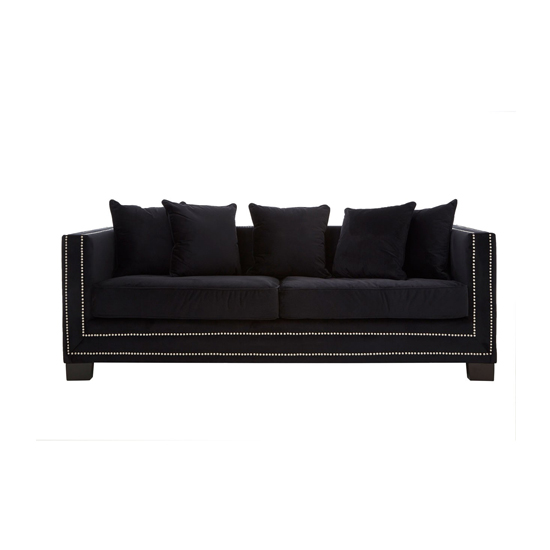 Pipirima 3 Seater Velvet Sofa In Black
