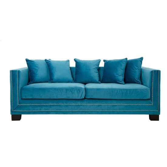 Pipirima 3 Seater Velvet Sofa In Cyan Blue