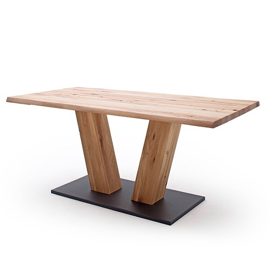 Sofia Large V-Leg Wooden Life Edge Dining Table In Solid Oak_2