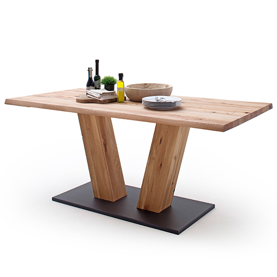 Sofia Large V-Leg Wooden Life Edge Dining Table In Solid Oak