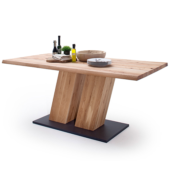 Sofia Large Wooden Life Edge Top Dining Table In Solid Oak