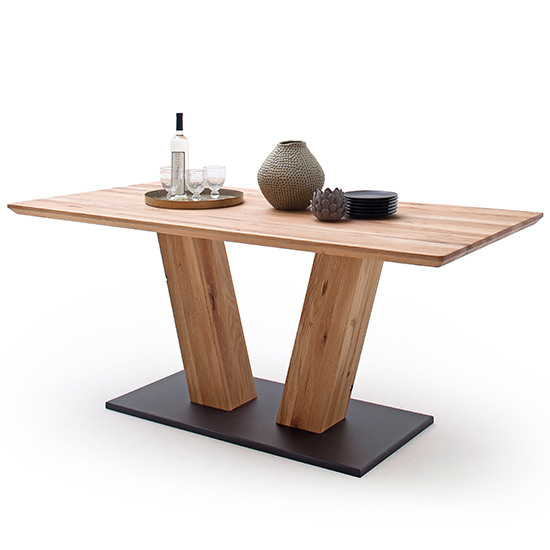 Sofia Medium V-Leg Wooden Swiss Edge Dining Table In Solid Oak