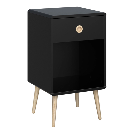 Softline Bedside Cabinet In Black With 1 Drawer