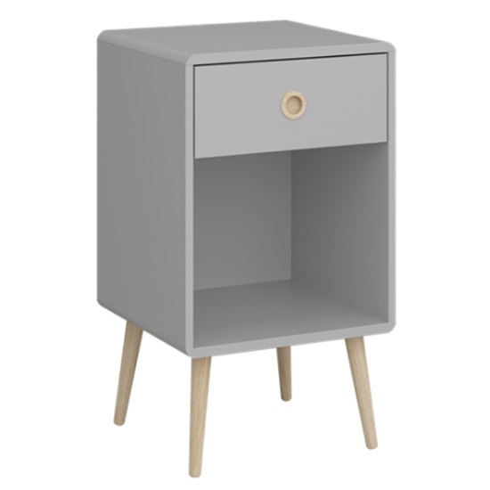 View Softline bedside cabinet in elephant grey with 1 drawer