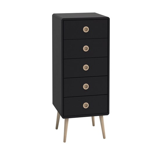 Softline Wooden Narrow Chest Of Drawers In Black With 5 Drawers