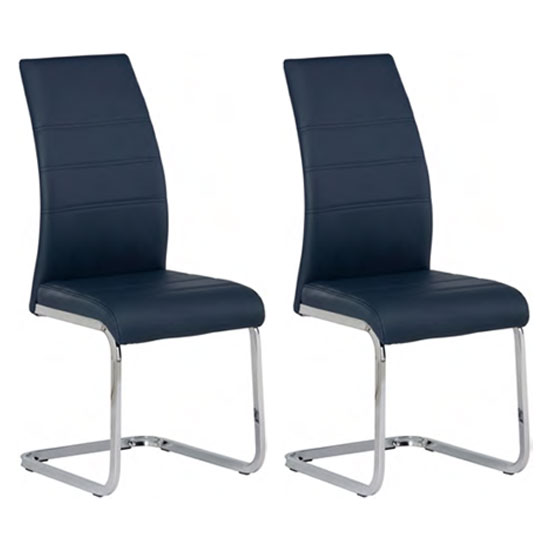 Soho Blue Faux Leather Dining Chair In A Pair