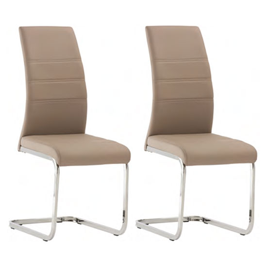Soho Cappuccino Faux Leather Dining Chair In A Pair