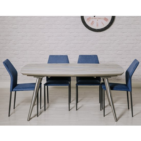 Soho Dining Set With 4 Blue Milo Stackable Chairs_1