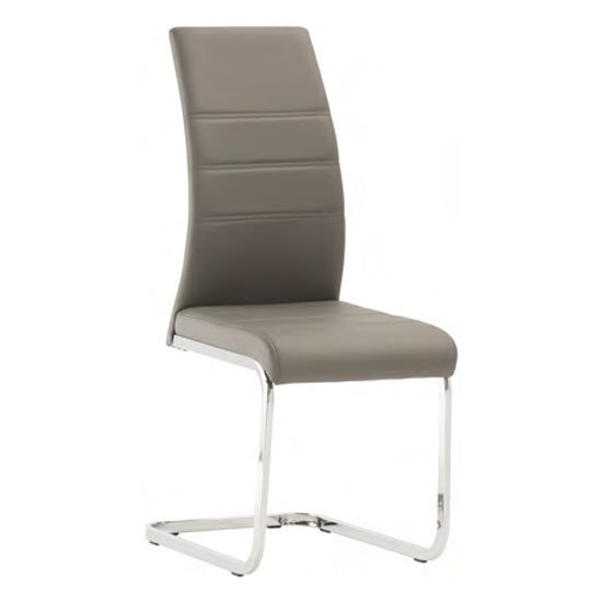 Soho Faux Leather Dining Chair In Grey