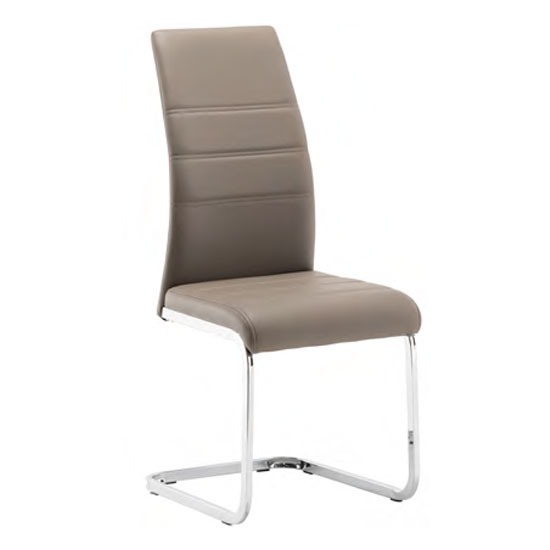 Product photograph showing Soho Faux Leather Dining Chair In Taupe