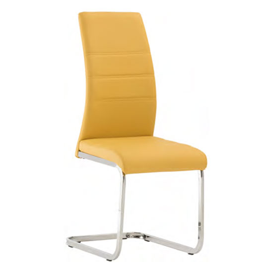 Soho Faux Leather Dining Chair In Yellow