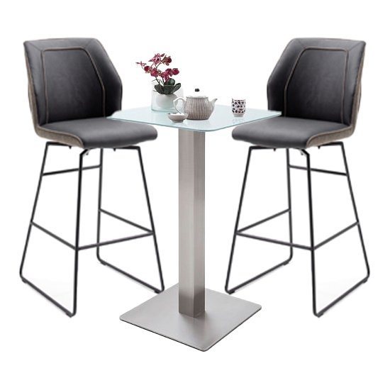 View Soho glass bar table with 2 aberdeen brown bar stools