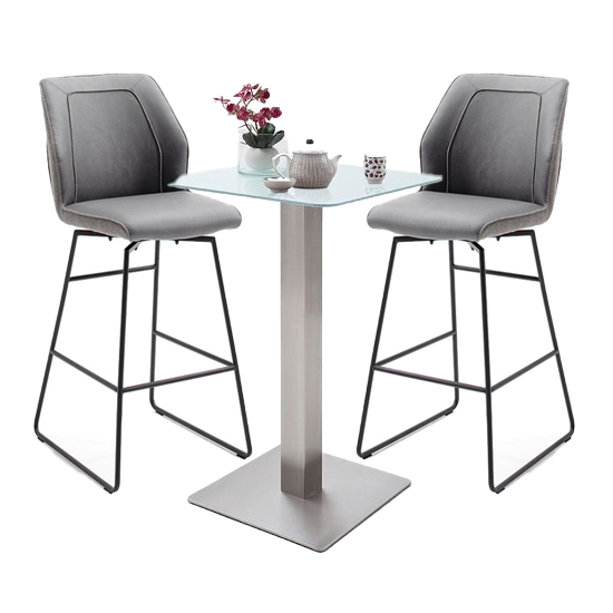 View Soho glass bar table with 2 aberdeen grey bar stools