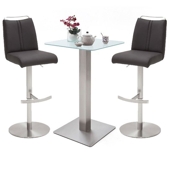 Soho Glass Bar Table With 2 Giulia Anthracite Leather Stools
