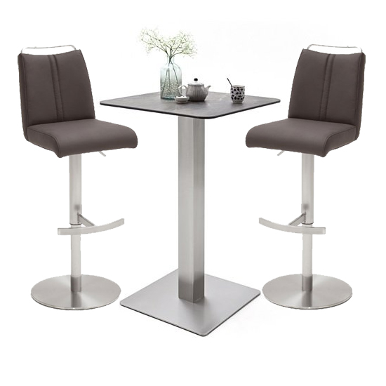 Soho Glass Bar Table With 2 Giulia Brown Leather Stools
