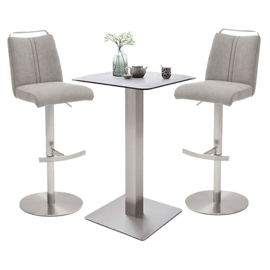 Soho Glass Bar Table With 2 Giulia Ice Grey Fabric Stools