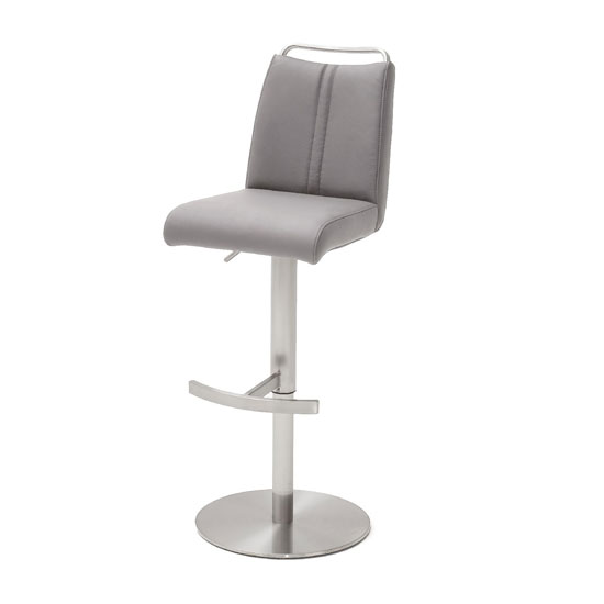 Soho Glass Bar Table With 2 Giulia Ice Grey Leather Stools_3
