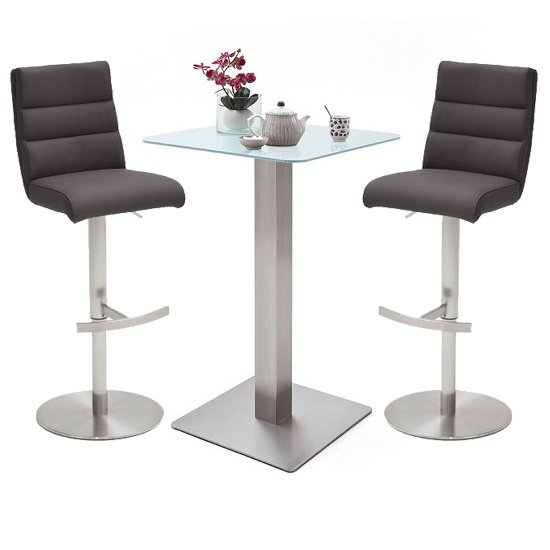 Soho Glass Bar Table With 2 Hiulia Anthracite Leather Stools_1