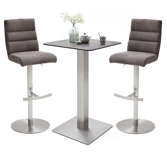 Soho Glass Bar Table With 2 Hiulia Brown Fabric Stools