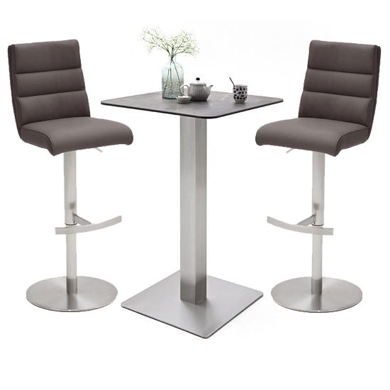 Soho Glass Bar Table With 2 Hiulia Brown Leather Stools