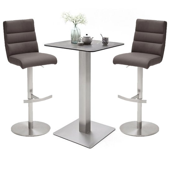 Soho Glass Bar Table With 2 Hiulia Brown Stools