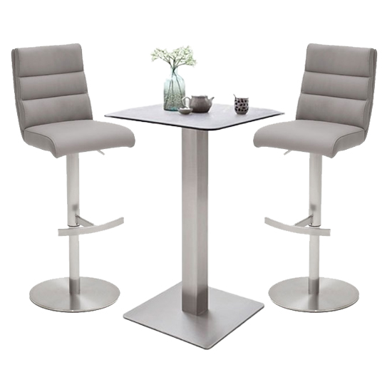 Soho Glass Bar Table With 2 Hiulia Ice Grey Leather Stools