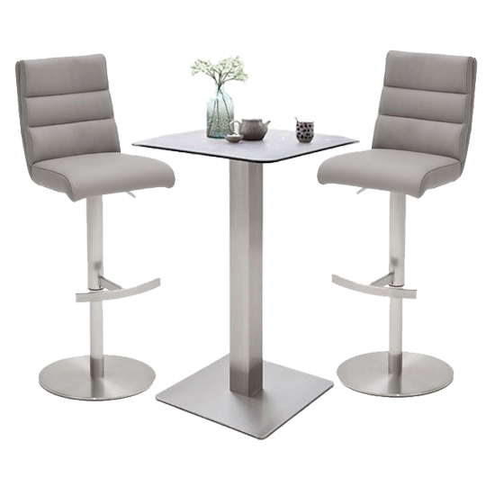 Soho Glass Bar Table With 2 Hiulia Ice Grey Stools