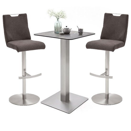 Soho Glass Bar Table With 2 Jiulia Brown Fabric Stools