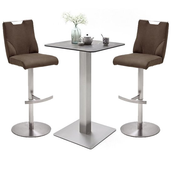 Soho Glass Bar Table With 2 Jiulia Brown Leather Stools