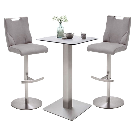 Soho Glass Bar Table With 2 Jiulia Ice Grey Leather Stools