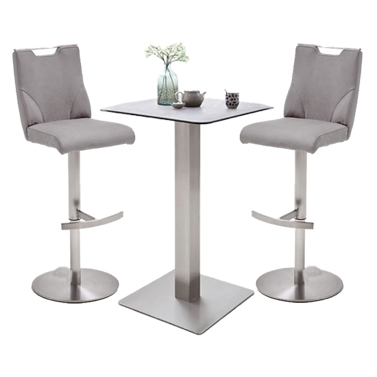 Soho Glass Bar Table With 2 Jiulia Ice Grey Stools