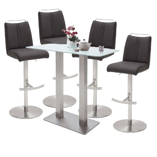 Soho Glass Bar Table With 4 Giulia Anthracite Leather Stools