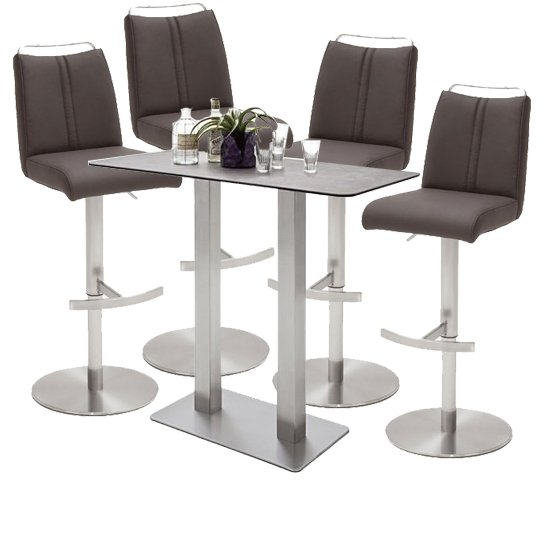Soho Glass Bar Table With 4 Giulia Brown Leather Stools
