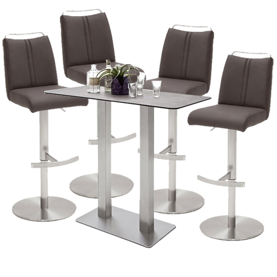 Soho Glass Bar Table With 4 Giulia Brown Stools_1