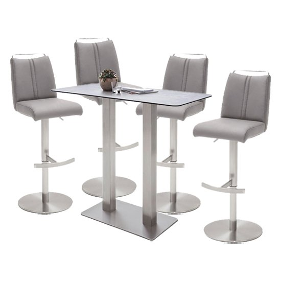 Soho Glass Bar Table With 4 Giulia Ice Grey Leather Stools