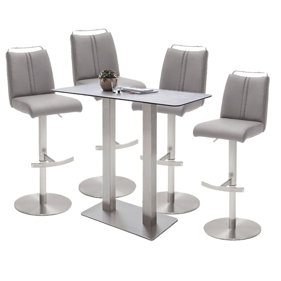 Soho Glass Bar Table With 4 Giulia Ice Grey Stools