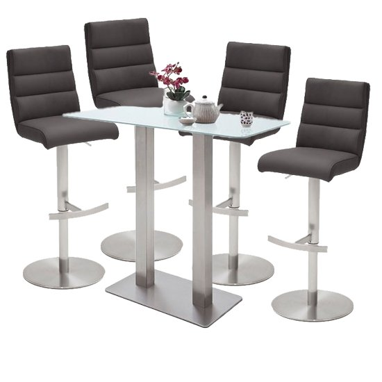 Soho Glass Bar Table With 4 Hiulia Anthracite Leather Stools
