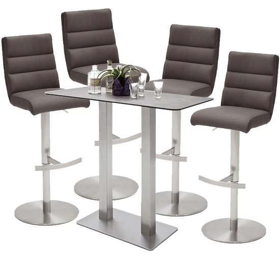 Soho Glass Bar Table With 4 Hiulia Brown Leather Stools